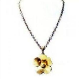 Jessica Simpson Flower Pendant Necklace Gold